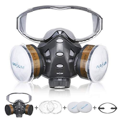 Atemschutzmaske NASUM Schutz Halbmaske mit Schutzbrille für Farbspritz, Staub, Schutz Geruchsminderung für Sprüh-, Sanierungs-,Lackier- und Schleifarbeiten