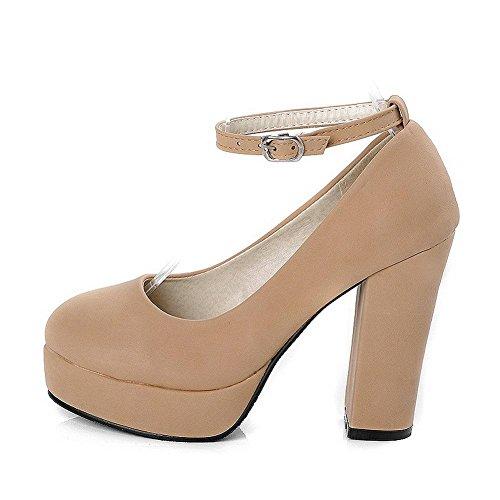 Bombas Vidro Sapatos Voguezone009 De Cor Inserido Puxar Salto De Bulbo Fosco Alto Damasco Senhoras PnTPqYz