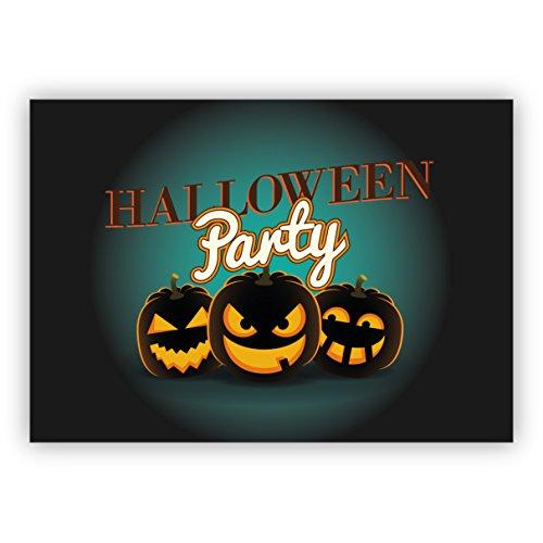 16 Weihnachtskarten (Klappgrußkarten / Glückwunschkarten / Neujahrskarten / Firmen Grußkarten für Kunde, Geschäftspartner, Mitarbeiter): Gruselige Kürbis Einladungskarte zu Halloween: Halloween Party