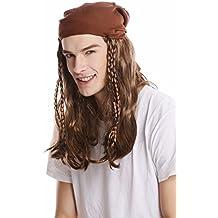WIG ME UP ® - 91225-P6 Peluca mujer hombre Halloween Carnaval ltrenzas largo pañuelo pirata piratas Rocker motorista marrón