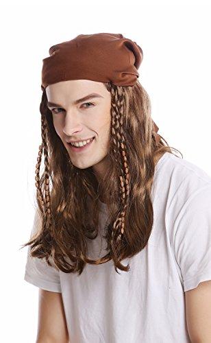Perücke Damen Herren Halloween Karneval braun lang Kopftuch Bandana geflochtene Zöpfe Pirat Seeräuber Rocker Biker ()