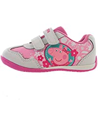 Peppa Pig White & Pink Velcro Trainers Kids Sizes 5 to 10