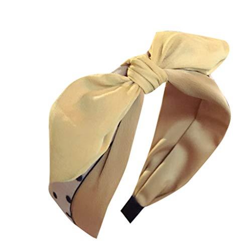 PPWOMEN Haarschmuck - Damen Polka Dot Stoff Niedliche Verspielte Hasenohren Bogen Breiter Krempe Stirnband (Gelb, Eine Größe) Opale Spiral