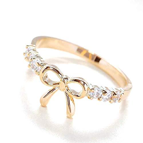 Ouken 1pc einfach eleganter bogenring Sterling silbernes Band Bow Stud Ring mit kubischem Zirkonia-Schmuck sinnvolle Geschenke für Frauen (rosengold)