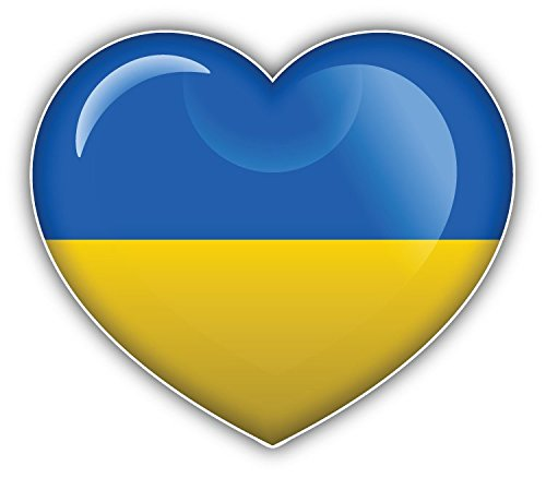 Bandiera Ucraina World glossy Heart Art Decor adesivo paraurti 12x 10cm