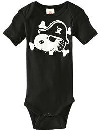 LOGOSHIRT - Snoopy Baby-Body Kurzarm Junge - Peanuts - Snoopy - Pirat Baby Strampler - schwarz - Lizenziertes Originaldesign