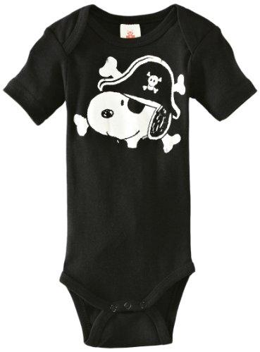 LOGOSHIRT - Snoopy Baby-Body Kurzarm Junge - Peanuts - Snoopy - Pirat Baby Strampler - schwarz - Lizenziertes Originaldesign, Größe 74/80, 7-12 (Baby Kostüm Snoopy)