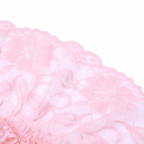 YiZYiF Transparent Herren Slips Mesh Spitze Rüsche Strumpfhose Männer Unterwäsche Tanga Lingerie Unterhose mit Penishülle Rosa