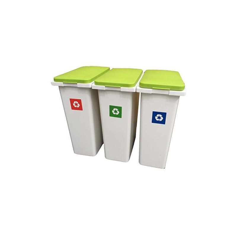3 X 30 Liter Interlocking Abfallrecyclinglaundry Sorting Kunststoff Mlleimer Recycling Boxen Mit Klappdeckeln 90 Liter Speicher