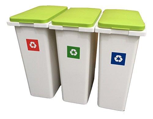 3x 30Liter Interlocking Abfall/Recycling/LAUNDRY Sorting Kunststoff Mülleimer Recycling Boxen mit Klappdeckeln–90Liter Speicher.