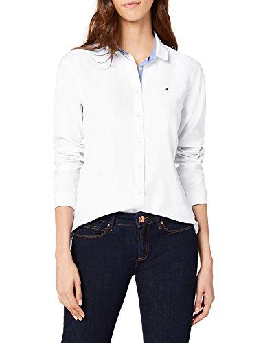 Tommy Hilfiger Damen Bluse JENNA LS W2 , Weiß (CLASSIC WHITE 100) , 38 (Herstellergröße: 8)