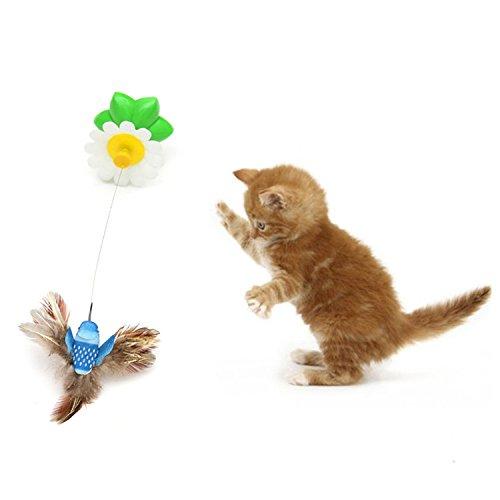 Katze Spielzeug Elektrische Tanz Vögel mit Kolibri 360 Rotation Pet Katze Teaser Spielzeug zufällige Farbe