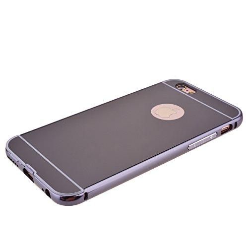 Custodia per iPhone 6 / 6S ( 4.7 pollici ), HB-Int 3 in 1 Lusso Bumper Case Alluminio Metallo Caso Ultra Leggera Copertura Anti Graffi Protettivo Specchio Back Cover + Pennino + HD Protezione dello Sc Grigio