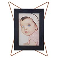 StafEco Photo Frame   Retro Geometric Style   Wood   Rose Gold   100% Copper (7x9,5 (18x24cm), Black)