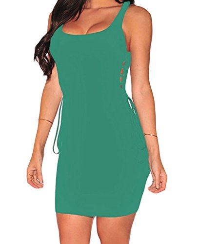 bling-bling-dress-womens-ribbed-open-lace-up-sides-dress-green-s