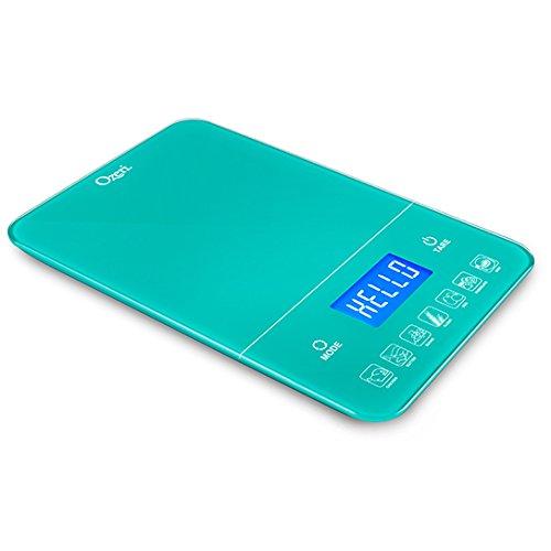 Ozeri Digitale Küchenwaage Touch III (10 kg) mit Kalorienzähler in schwarzem Hartglas
