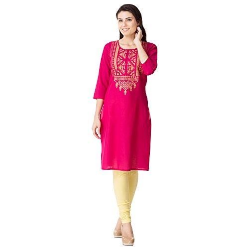 Embroidery kurti|M&D 3/4 Sleeve Casual Wear Cotton Kurti|Yoke Embroidery|Pink Calf long Kurta