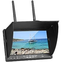 Laurelmartina Monitor LCD de 7 Pulgadas LT-5802S 5802 40CH Raceband Dual 5.8G Diversidad Receptor Batería incorporada con Protector Solar para RC Drone