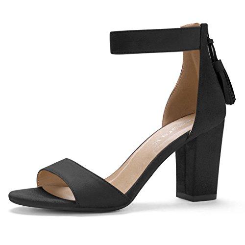 Allegra K Damen hohe Blockabsatz Quaste Knöchel-Riemen Sandalen Sandalette, Schwarz/EU 39.5 (Riemen Quaste)