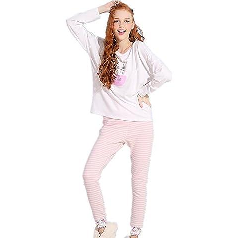 DMMSS Señoras de primavera y otoño pijamas linda Traje Impreso Albornoz larga de algodón - de manga dormir Set , picture color , s