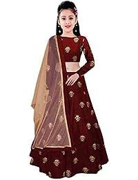 d3e7c1304dc Girl s Embroidered tafeta silk Semi Stitched Kids Lehenga Choli(free size)