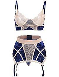 68dcdc4b87 ohyeahlady Women Satin Lingerie Lace Overlay Lingerie Set Steel Ring Bra  Set with Garter Belt Set