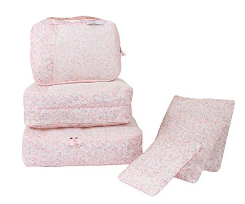 Smile YKK Geblümt 6-teiliges Set Kleidertaschen-Reisetaschen-Wäschebeutel-Kofferorganizer-Packtaschen-Kofferorganizer Pink Blüte Pink Blüte