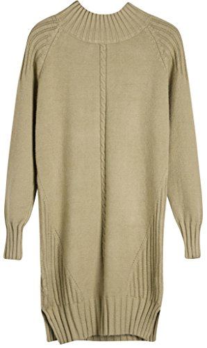 Vogueearth Fashion Hot Donna's Ladies Lungo Manica Twist Knit Jumper Maglieria Sweater Pullover Top Cachi
