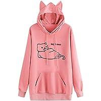 Tefamore Mujer Gato de Manga Larga Sudadera con Capucha Blusa Encapuchado Tops Hoodies