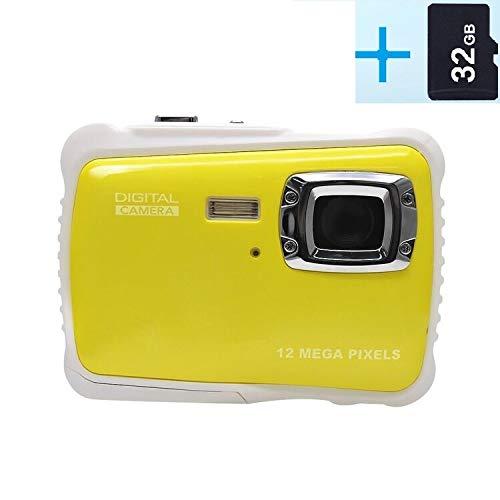 rbideli Wasserdicht Digital Kamera mit 4x Digital Zoom 2Zoll LCD 12MP HD Video Unterwasser Camcorder für Kinder (gelb)