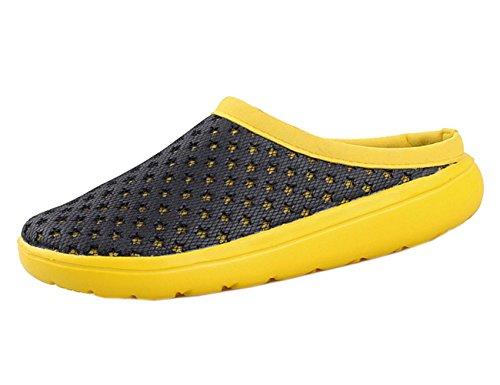 Hjmtry Hommes Sandales D'été Loisirs Plage Chaussures Transats Demi Chaussons Jaune