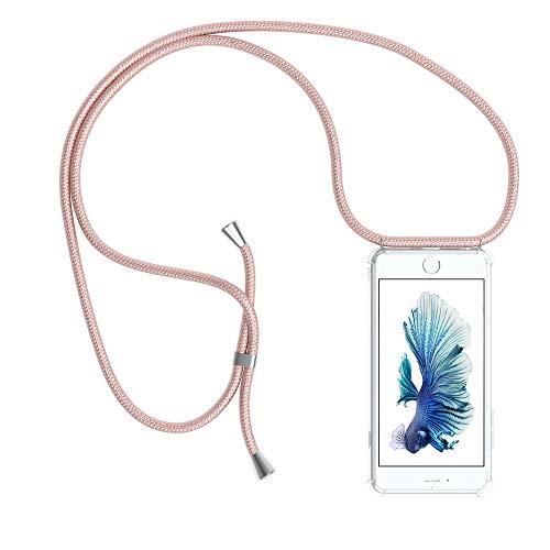 EAZY CASE Handykette kompatibel mit Apple iPhone 6 / 6S Handyhülle mit Umhängeband, Handykordel mit Schutzhülle, Silikonhülle, Hülle mit Band, Stylische Kette mit Hülle für Smartphone, Rosé-Gold -