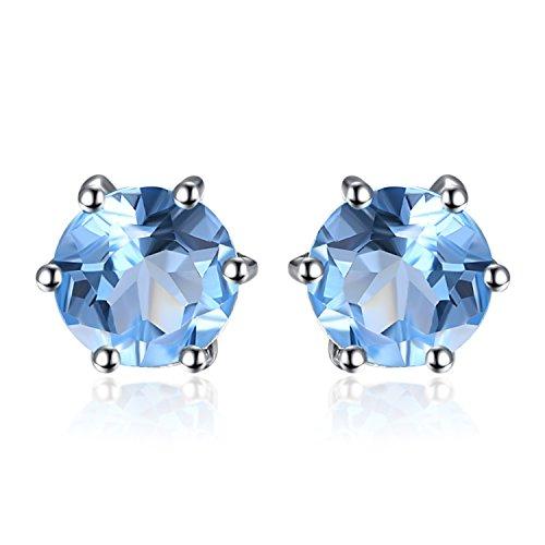 JewelryPalace Rotondo 1.2ct Naturale Blu Topazio Stud Orecchini Solido 925 Sterling Argento