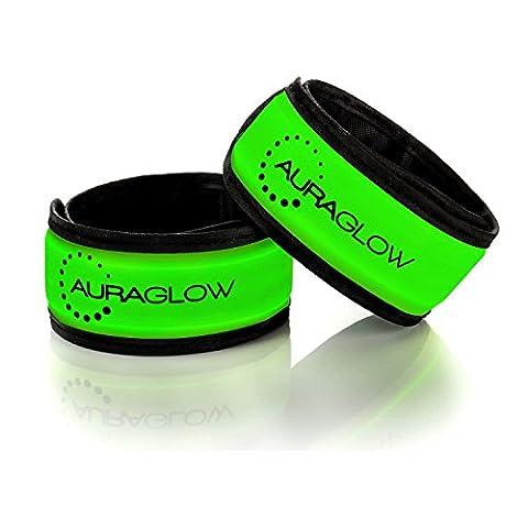 Auraglow Super Bright High Visibility Light-Up LED Arm Band Reflective