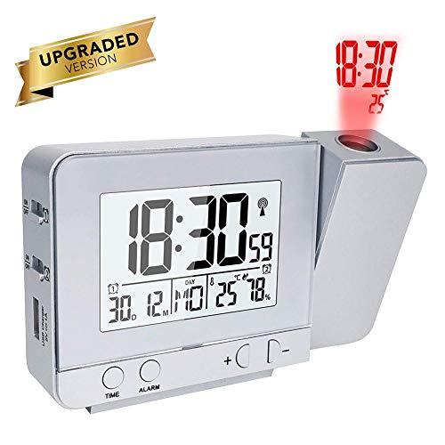 Queta Projektionswecker, Digital Uhr mit Zeit Temperatur Projektion, Funk-Projektionswecker mit Dual-Alarm, Luftfeuchtigkeit, Snooze, Timer, Kalender, USB-Anschluss (Silber)