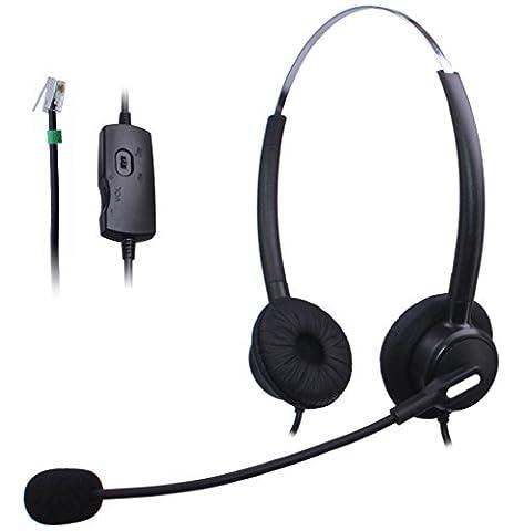 Wantek Filaire Téléphone RJ Casque avec Noise Cancelling Micro + Volume Muet Contrôle pour Aastra Shoretel Nortel Cisco E20 Polycom Digium Altigen Comdial & Starleaf Bureau IP Téléphones(H120B003A)