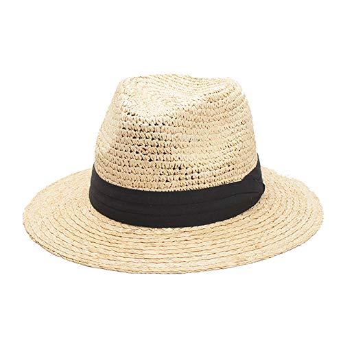 XXY Sonnenhut Lafite Grass Sonnenbrillen mit breiter Krempe Panama Beach Sonnenschutz Lazy Summer Breathable Professional Hat (Farbe : Light Khaki, Größe : 56-58CM)