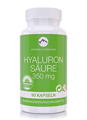 Hyaluronsäure Kapseln von Alparella Elements | 500 - 700 kDa | 90 Kapseln | 350 mg hochdosiert | Made in Germany
