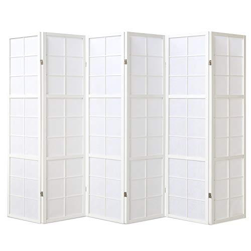 175 Holz (Homestyle4u 440, Paravent Raumteiler 6 teilig, Holz Reispapier Weiß, Höhe 175 cm)