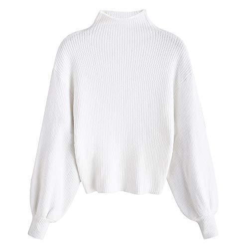ZAFUL Damen Laterne Ärmel Stehkragen Pullover Sweater Einfarbige Bluse Sweatshirt Pulli Frauen Langarm(Weiß)