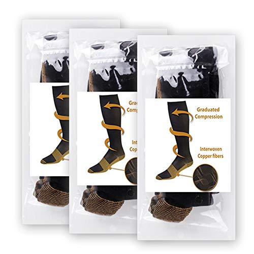b397c9459ccb5d Copper Compression Socks (3 pairs) For Women and Men Anti-fatigue Athletic  Fit