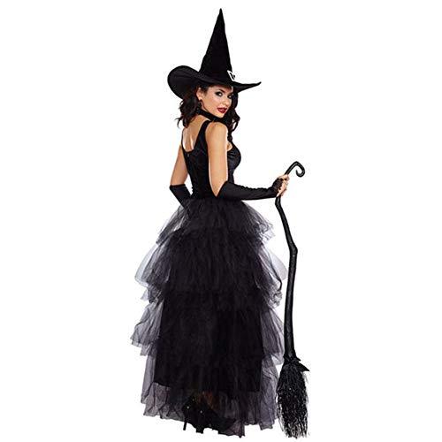 Weibliche Mittelalterliche Kostüm - Tjtcs Schwarze weibliche beängstigende Halloween-Karneval-Cosplay-Kostüme mittelalterliche Königin-Hexe-Rollenspiel-Prinzessin Dress Party Clothing,S