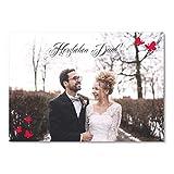 greetinks 100 x Personalisierte Dankeskarten zur Hochzeit 'Schmetterling' in Rot | Danksagungskarten zum selbst Gestalten | 100er Set Danksagung Karten