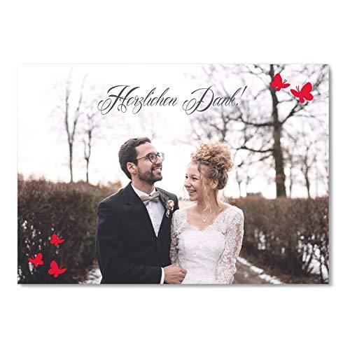 greetinks 30 x Dankeskarten zur Hochzeit 'Schmetterling' in Rot | Personalisierte Danksagungskarten zum selbst Gestalten | 30 Stück Danksagung Karten