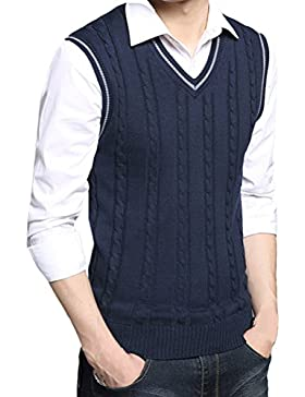 Zhhlinyuan alta calidad Mens Men's Britsh Style Cotton Spring Soft Sleeveless V-neck Pullover Knitted Jumper Vest...