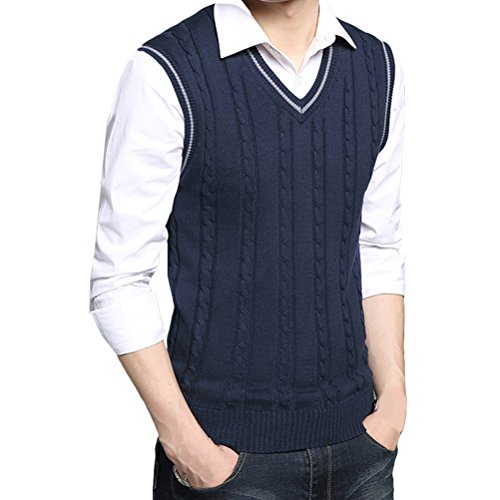 Zhhlinyuan gute Qualität Mens Men's Britsh Style Cotton Spring Soft Sleeveless V-neck Pullover Knitted Jumper Vest Waistcoat Weste Gilet Tops (V-neck Sleeveless Black Knit Sweater)
