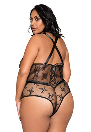 Roma Costume Damen Satin and Sheer Lace Teddy Dessous, schwarz, XX-Large - 2