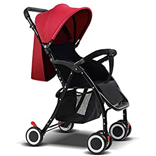 YZ-YUAN Pushchair Prams Baby Stroller Half Awn Four Rounds Bidirectional Prams Fold High Landscape Dolls Toddlers Strollers Can Sit And Lie Down From Birth,Red