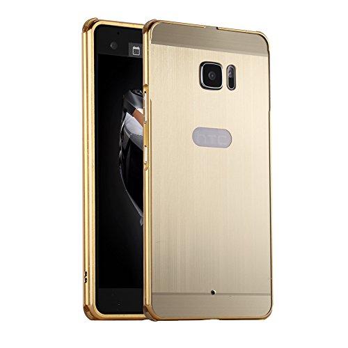 Huphant HTC U Ultra Hülle HTC U Ultra Metall Hülle Luxus 2 in 1 Aluminium Hülle Metal Frame Bumper+ PC Stoßfest Hülle Schutzhülle Aluminium Hülle 2 in 1 für HTC U Ultra(5,7 Zoll) - Luxury Gold