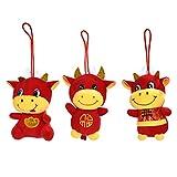 Gadpiparty Os Knuffel Chinese Dierenriem Os Pop 2021 Jaar Van Os Gevulde Pluche Vee Pop Gelukskoe Oudejaarsavond Gunst Geschenken 3 Stks Chinese Nieuwjaar